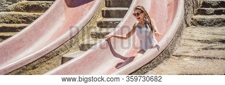 Woman On A Stone Water Slide In A Water Park. Aqua Park, Girl Slide Down On Water Slide Banner, Long