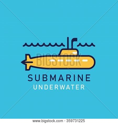 Flat Illustration Of A Yellow Submarine With A Periscope