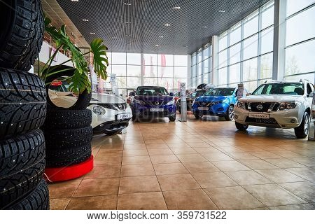 Kirov, Russia - May 07, 2019: Cars In Showroom Of Dealership Nissan In Kirov