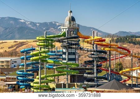 Besenova, Slovakia - April 5, 2020: Large Colorful Water Slides In Aqua Park