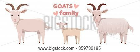 Vector Illustrations Of Goats Family Isolated On A White Background In Cartoon Style.