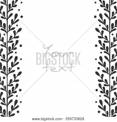 Abstract Vertical Borders; Abstract Foliate Frame For Greeting Cards, Invitations, Wedding Cards, Po