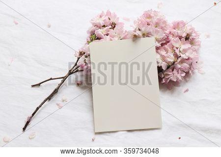 Wedding Spring Styled Stock Photo. Feminine Desktop Mockup Scene With Pink Blossoming Japanese Cherr