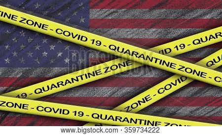 Patriotic Inspirational Positive Quote About Novel Coronavirus Covid-19 Pandemic. Quarantine Zone -