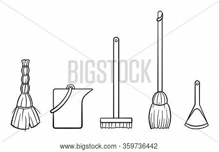 Outline Style Broom Stick, Bucket, Mop, Besom And Dustpan For Cleaning On White Background
