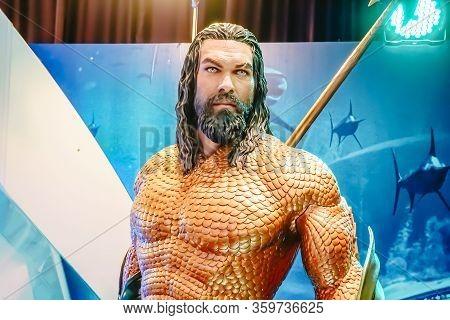 Bangkok, Thailand - November 18, 2018: Human Size Statue Of A Dc Comic Superhero Arthur Curry Or Aqu