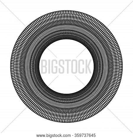Black Circle Deformed Black Hole Black White Sketch On White Background For Design And Printing Grap