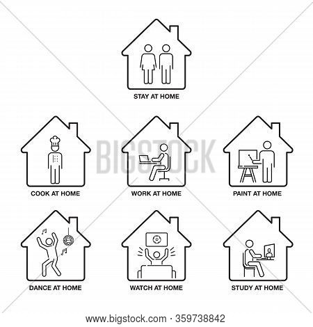 Stay At Home Concept,  Icon Set, Pictograph, Icon Single Line, Logo Design, Black And White.