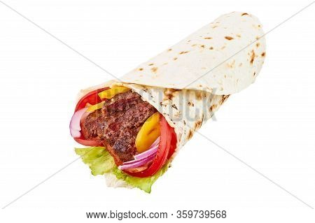 Beef Roll Or Shawarma Or Doner Isolated On White Background. Shawarma Tomato, Red Onion, Lettuce, Be
