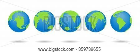 Set Of Earth Globes. World Maps Isolated On White Background. 3d Globus Icons. World Symbol With Blu