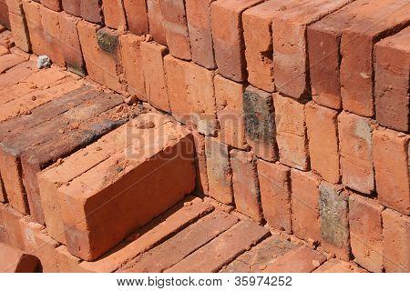 Adobe Bricks Piled in a Brickyard