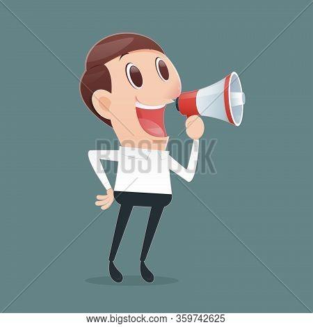 Cartoon Man Wear A White Shirt Over Green Background Shouting Through A Megaphone. Spread The News