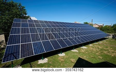 Solar Panels Installed On Outdoors Opened Space Sideview. Modern Solution For Natural Resources Savi