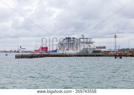 Southampton, United Kingdom - April 24, 2019: Passenger Cruise Ship Msc Meraviglia Is Moored In The