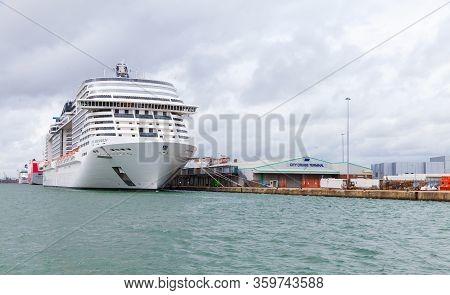 Southampton, United Kingdom - April 24, 2019: Cruise Ship Msc Meraviglia Is Moored In The Port Of So