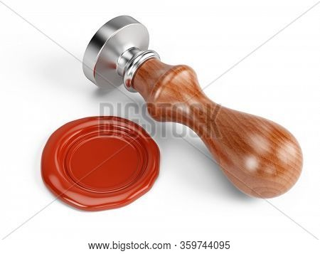 Wax seal and personal stamp tool isolated on white. 3d rendering