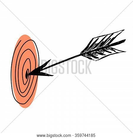 Goal, Target, Arrow Concept. Hand Drawn Target With Arrow Sketch. Isolated Vector Illustration.purpo