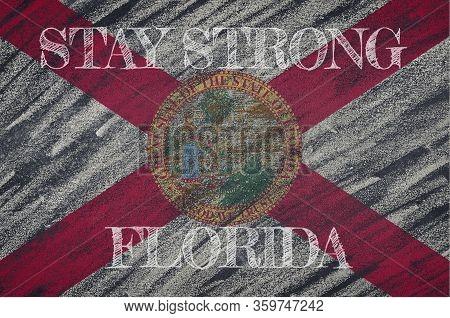 Covid-19 Warning. Quarantine Zone Covid 19 On Florida ,flag Illustration. Coronavirus Danger Area, Q