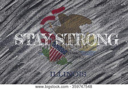Covid-19 Warning. Quarantine Zone Covid 19 On Illinois ,flag Illustration. Coronavirus Danger Area,