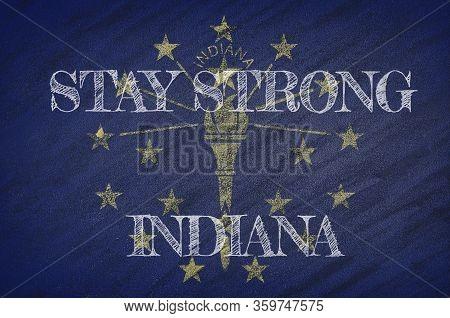 Covid-19 Warning. Quarantine Zone Covid 19 On Indiana ,flag Illustration. Coronavirus Danger Area, Q