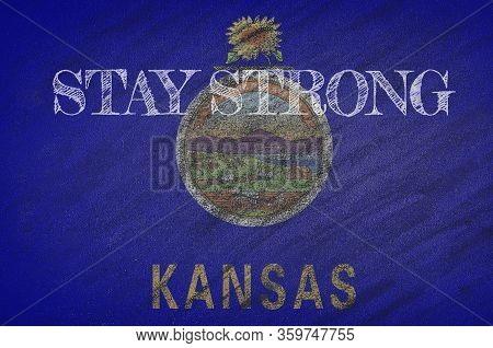 Covid-19 Warning. Quarantine Zone Covid 19 On Kansas ,flag Illustration. Coronavirus Danger Area, Qu