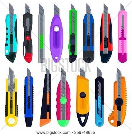 Stationery Knives Isolated Cartoon Set Icon. Cartoon Set Icon Cutter . Vector Illustration Stationer