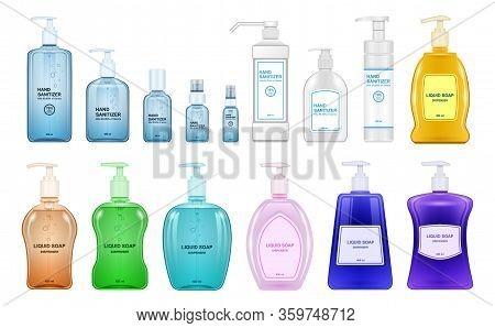 Bottle Antiseptic Vector Realistic Set Icon. Vector Illustration Sanitizer On White Background. Isol