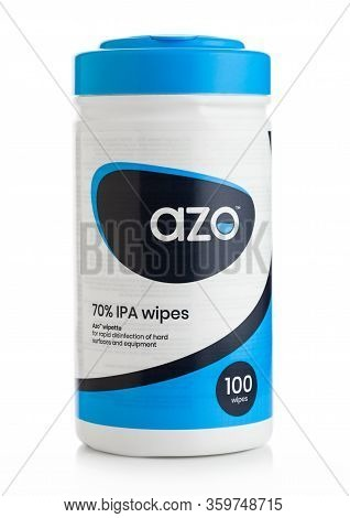 London, Uk - April 01, 2020: Plastic Container Of Azo 70% Ipa Wipes On White. For Rapid Disinfection