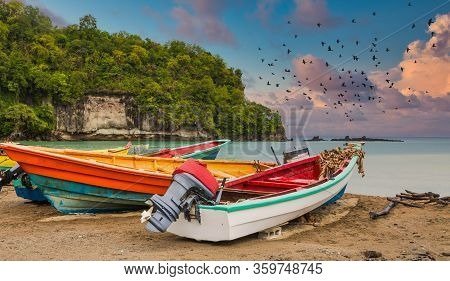 Colorful Fishing Boats On A Beach In St Lucia