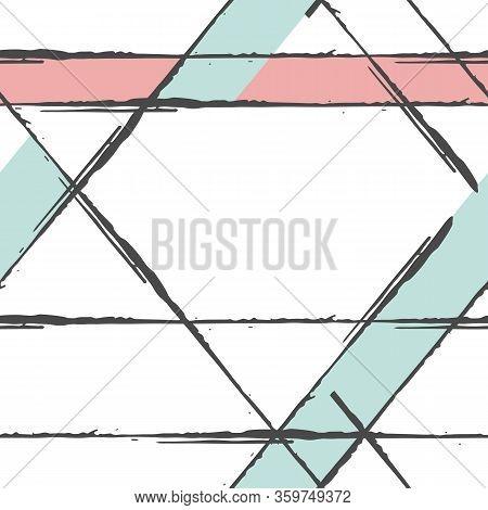 Black Ink Grunge Line Vector Seamless Pattern Background. Brush Stroke Style Linear Criss Cross Back