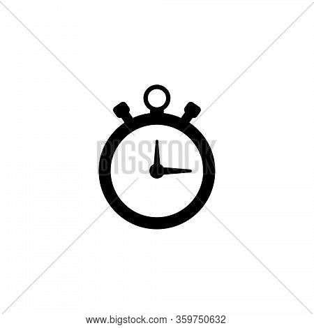 Stopwatch, Sports Timer, Countdown Clock. Flat Vector Icon Illustration. Simple Black Symbol On Whit