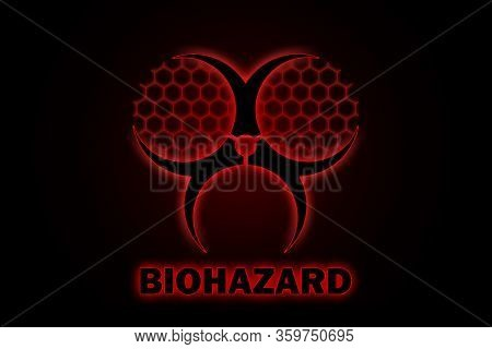 Illustration Of A Stylized Biohazard Sign Inverted With A Red Glow Effect On A Black Background And