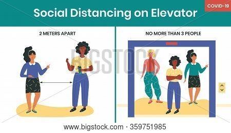 Social Distancing In Elevator During Covid-19 Quarantine Horizontal Vector Memo Illustration. Preven