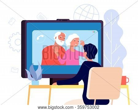 Video Call With Parents. Online Family Chat Vector Concept. Flat Parents And Son Illustration. Famil