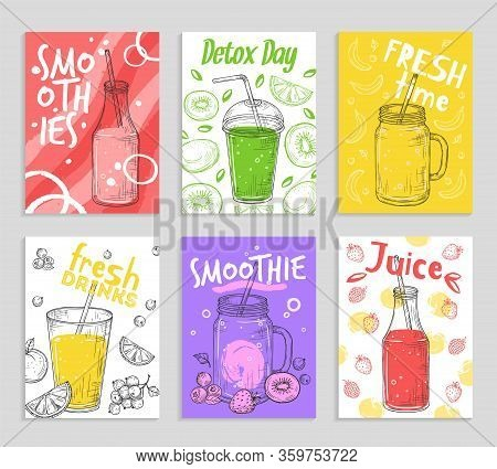 Smoothie Flyers. Colorful Detox Juices, Fresh Fruit Smoothies Cards. Vegan Lifestyle, Sketch Berry A