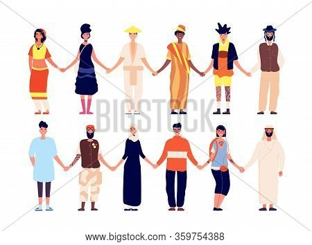 Multicultural Friendship. Ethnic People Group, Friends Holding Hand. Diversity Interracial Community