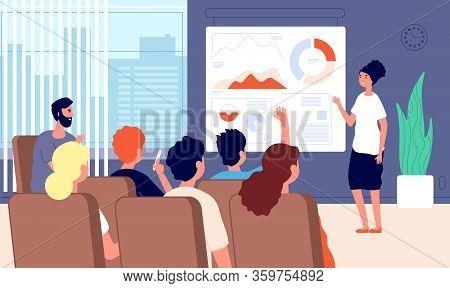 Business Seminar. Woman Speaker Conference Presentation Success. Businesswoman Reading Lecture. Coac