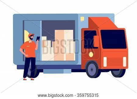 Courier. Smiling Guy With Package, Delivery Lorry. Logistic Service, Man And Boxes. Postman With Par