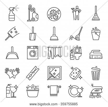 Cleaning Service. Outline Clean Symbols, Householding. Laundry Housework Cleaner. Mirror Glass, Towe