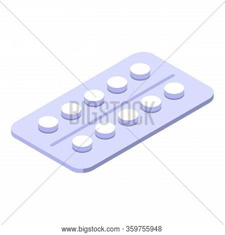 Blister Pills Icon. Isometric Of Blister Pills Vector Icon For Web Design Isolated On White Backgrou