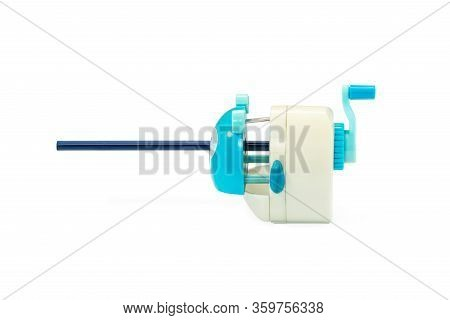 School Mechanical Pencil Sharpener Ready To Sharpen A Blue Pencil Isolated On White Background