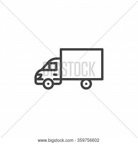 Delivery Truck Line Icon. Linear Style Sign For Mobile Concept And Web Design. Goods Carrying Truck