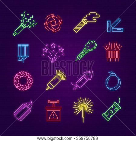 Firework Icons. Neon Festival Dynamite, Led Party Fireworks Sign. Glowing Festive Spark, Holiday Pyr