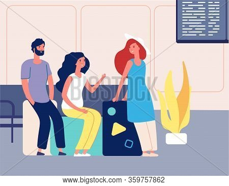 Friends Travel. Man Woman With Suitcases Waiting Travel Transport. People On Airport Or Station. Sum