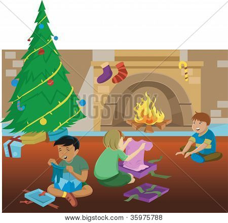Three Children Opening Gifts Under A Christmas Tree