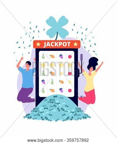 Jackpot Winners. Online Casino, Lucky Man Woman With Money Pile. People Playing Lottery On Slot Mach