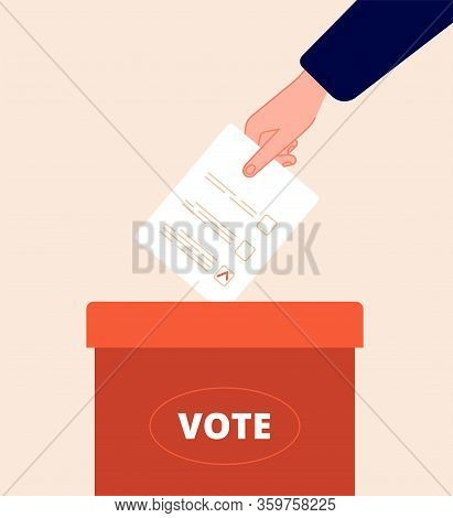 Voting Box. Vote Day, Election Packaging. Hand Holds Ballot. Politics Opinion, Voter Survey. Flat Ba