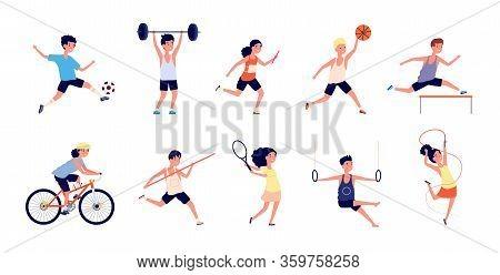 Sport Children. Cartoon Dance Girls. Child With Basketball Ball, Playing Soccer Raises Barbell. Youn