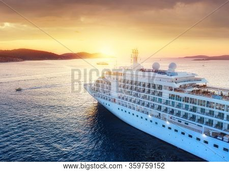 Croatia. Aerial View At The Cruise Ship During Sunset. Adventure And Travel. Landscape With Cruise L