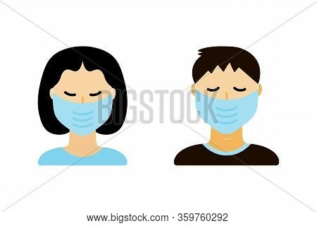 People, Man And Woman, Wearing Medical Face Masks Protecting Themselves From Virus, Coronavirus, Air